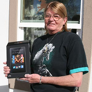 Mel Davidson with her Kindle Fire