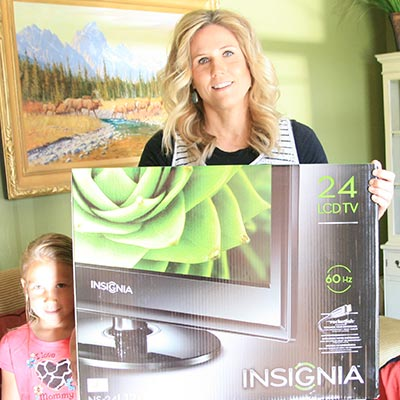 "Carol with her 24"" HD TV"